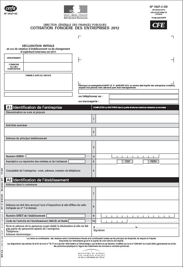 formulaires cerfa pour la cotisation fonci u00e8re des